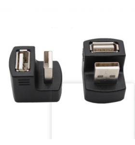 90 180 Degree Black USB Connector Male to Female Plug