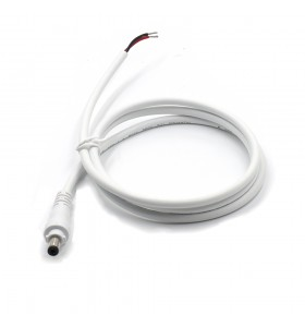 dc5.5*2.1mm male with lock to open waterproof white cable