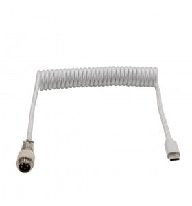 5PIN male Aviation plug to Type-c Spring white braid Cable PVC wire add PP sheath and PET sleeving