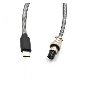 5PIN male Aviation plug to USB2.0  Cable TPU spring wire add white PP nylon and black  PETsheath